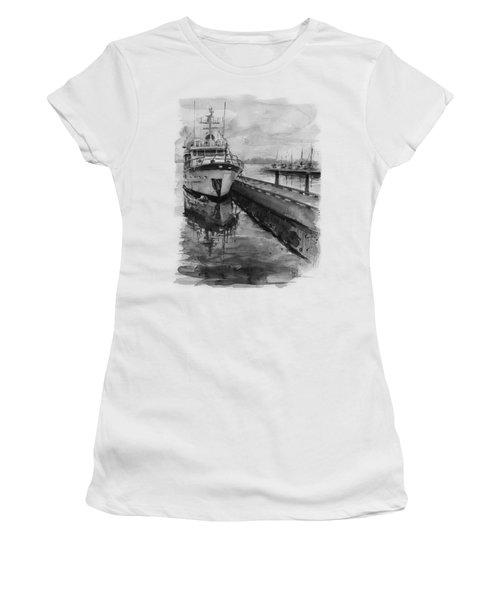 Boat On Waterfront Marina Kirkland Washington Women's T-Shirt