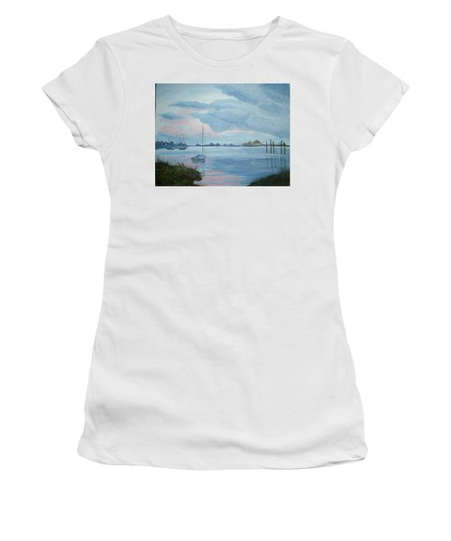 Boat Sunset Women's T-Shirt (Athletic Fit)