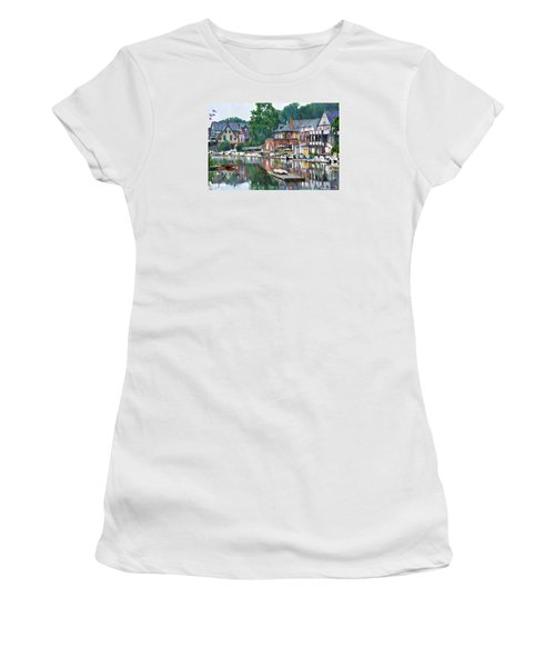 Women's T-Shirt featuring the photograph Boathouse Row In Philadelphia by Bill Cannon