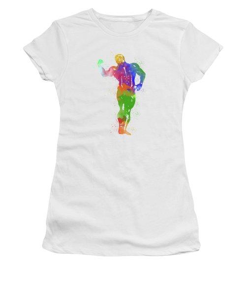 Bodybuilder Watercolor 1 Women's T-Shirt (Athletic Fit)