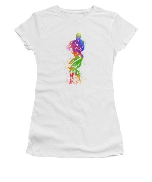 Bodybuilder Watercolor 2 Women's T-Shirt (Athletic Fit)