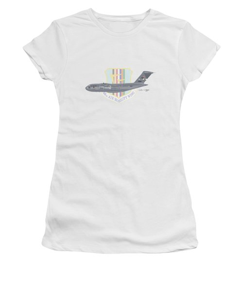 Women's T-Shirt (Junior Cut) featuring the digital art Boeing C-17 Globemaster IIi Travis Afb by Arthur Eggers