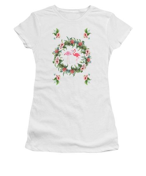 Boho Floral Tropical Wreath Flamingo Women's T-Shirt (Athletic Fit)