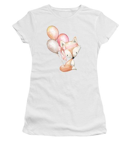 Boho Fox With Balloons Women's T-Shirt