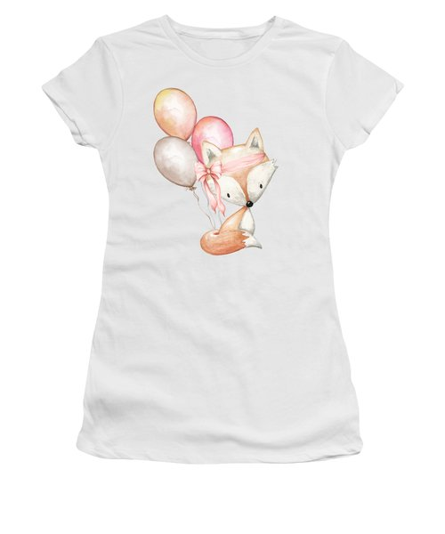 Boho Fox With Balloons Women's T-Shirt