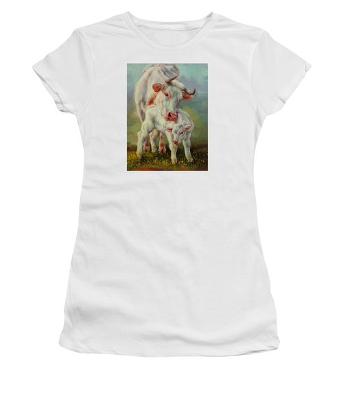 Bonded Cow And Calf Women's T-Shirt (Junior Cut) by Margaret Stockdale