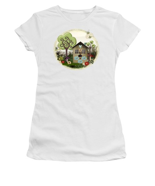 Bonnie Memories Whimsical Mixed Media Women's T-Shirt (Junior Cut) by Sharon and Renee Lozen