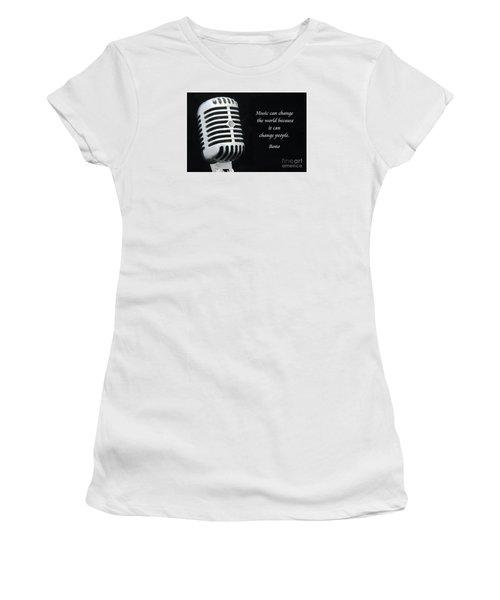 Bono On Music Women's T-Shirt (Junior Cut) by Paul Ward