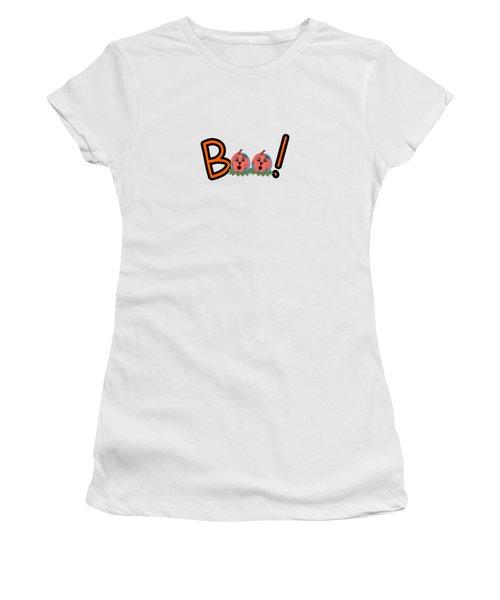 Boo Women's T-Shirt (Junior Cut) by Kathleen Sartoris