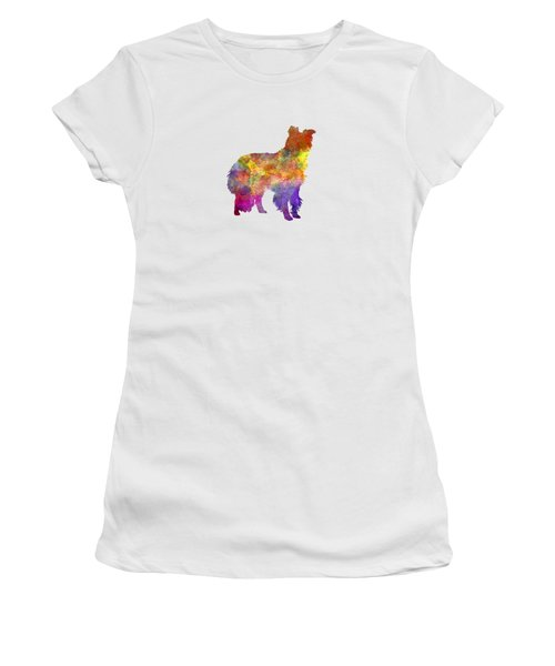 Border Collie In Watercolor Women's T-Shirt (Athletic Fit)