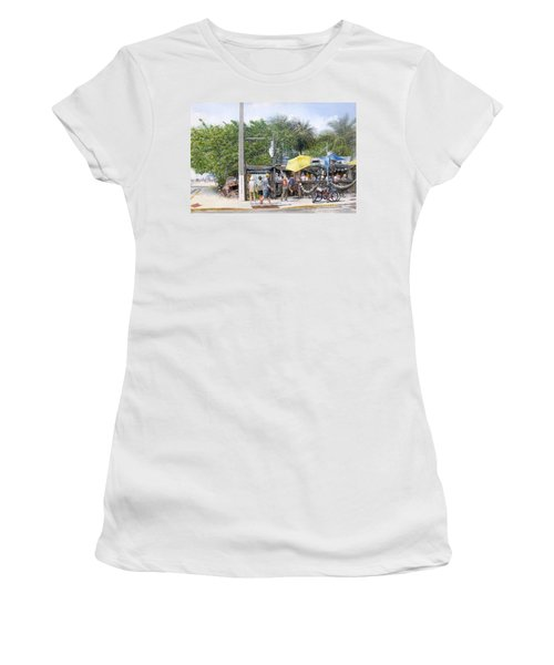 Women's T-Shirt (Junior Cut) featuring the painting Bos Fish Wagon by Bob George