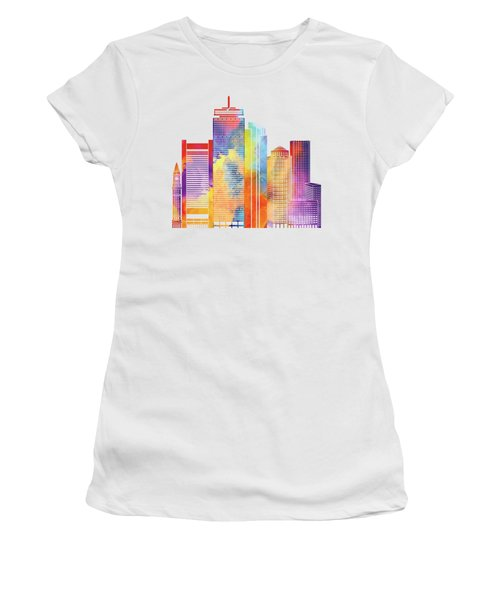 Boston Landmarks Watercolor Poster Women's T-Shirt (Athletic Fit)
