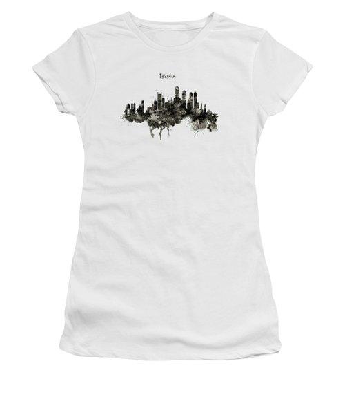 Boston Skyline Black And White Women's T-Shirt