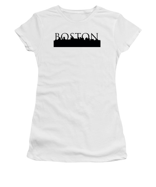 Women's T-Shirt (Junior Cut) featuring the photograph Boston Skyline Outline With Logo by Joann Vitali