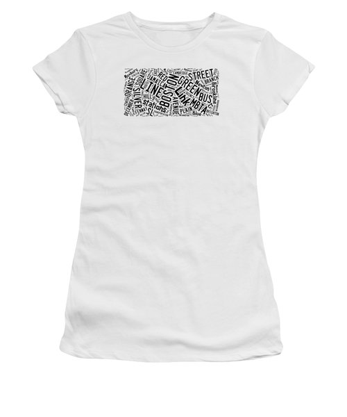 Boston Subway Or T Stops Word Cloud Women's T-Shirt (Junior Cut) by Edward Fielding