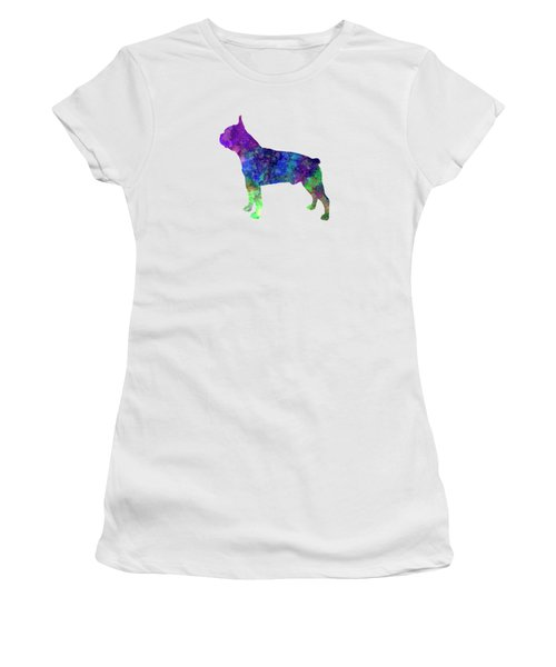 Boston Terrier 02 In Watercolor Women's T-Shirt (Athletic Fit)