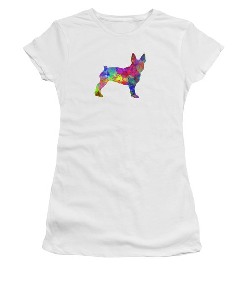 Boston Terrier 01 In Watercolor Women's T-Shirt (Athletic Fit)