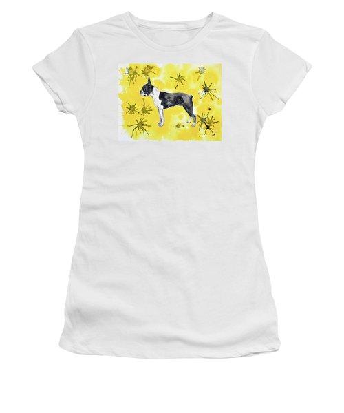 Women's T-Shirt (Athletic Fit) featuring the painting Boston Terrier On Yellow by Zaira Dzhaubaeva