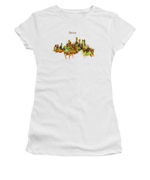 Boston Watercolor Skyline Women's T-Shirt (Junior Cut) by Marian Voicu