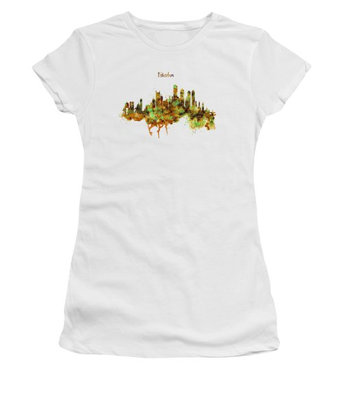 Boston Watercolor Skyline Women's T-Shirt (Athletic Fit)