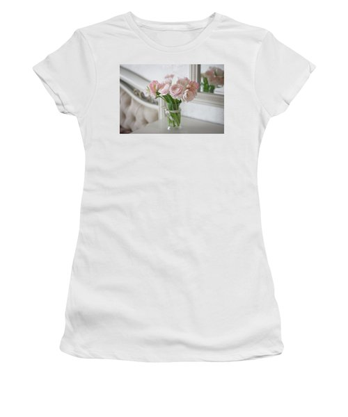 Bouquet Of Delicate Ranunculus And Tulips In Interior Women's T-Shirt