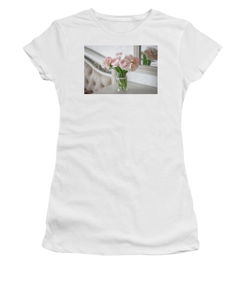 Women's T-Shirt featuring the photograph Bouquet Of Delicate Ranunculus And Tulips In Interior by Sergey Taran