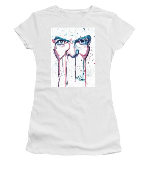 Women's T-Shirt (Junior Cut) featuring the painting Bowie by D Renee Wilson