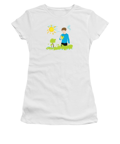 Boy Painting Summer Scene Women's T-Shirt (Athletic Fit)