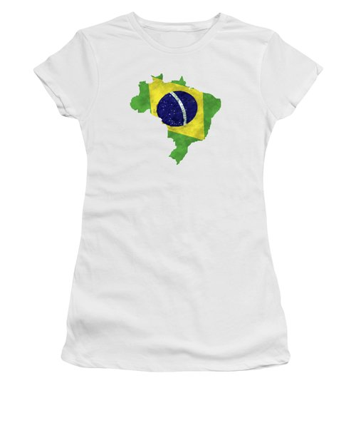 Brazil Map Art With Flag Design Women's T-Shirt (Athletic Fit)