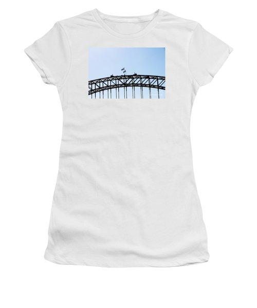 Women's T-Shirt (Junior Cut) featuring the photograph Bridge Walk by Stephen Mitchell
