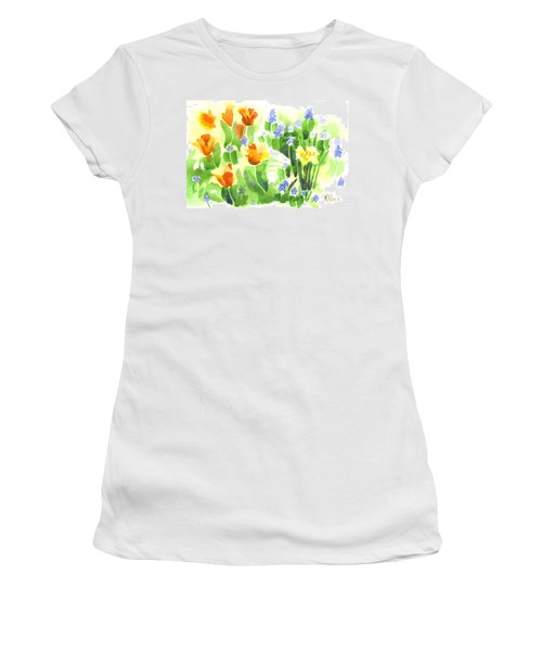 Women's T-Shirt (Junior Cut) featuring the painting Brightly April Flowers by Kip DeVore