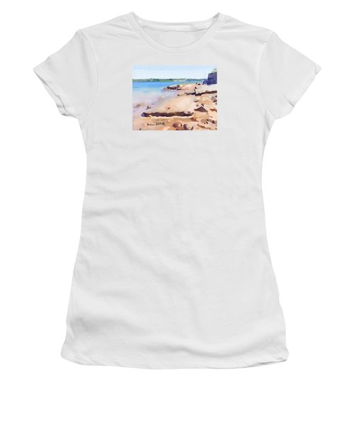 Broken Walkway Rock At Ten Pound Island Beach Women's T-Shirt (Athletic Fit)