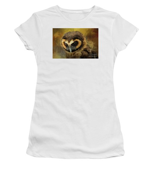 Brown Wood Owl Women's T-Shirt (Athletic Fit)