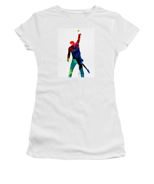 Bruce Watercolor Women's T-Shirt (Junior Cut) by Naxart Studio