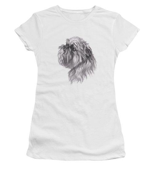 Brussels Griffon Dog Portrait  Drawing Women's T-Shirt (Junior Cut) by I Am Lalanny
