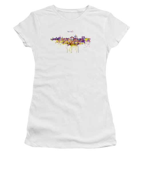 Brussels Skyline Silhouette Women's T-Shirt (Athletic Fit)