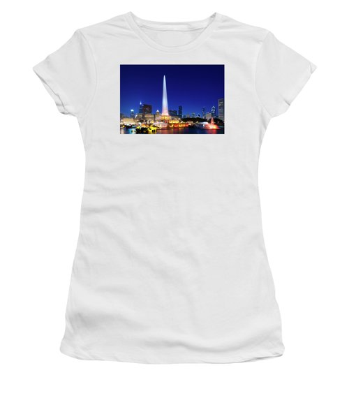 Women's T-Shirt (Athletic Fit) featuring the photograph Buckingham Fountain by Sebastian Musial