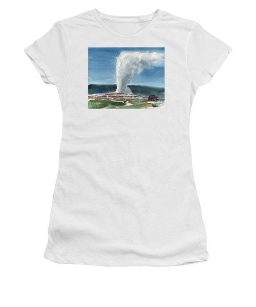 Buffalo And Geyser Women's T-Shirt (Junior Cut) by Donald Maier