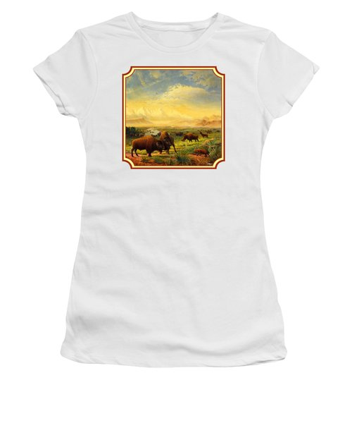 Buffalo Fox Great Plains Western Landscape Oil Painting - Bison - Americana - Square Format Women's T-Shirt (Athletic Fit)