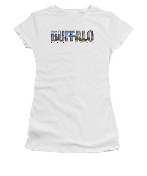 Buffalo Ny Entering Downtown Women's T-Shirt (Junior Cut) by Michael Frank Jr