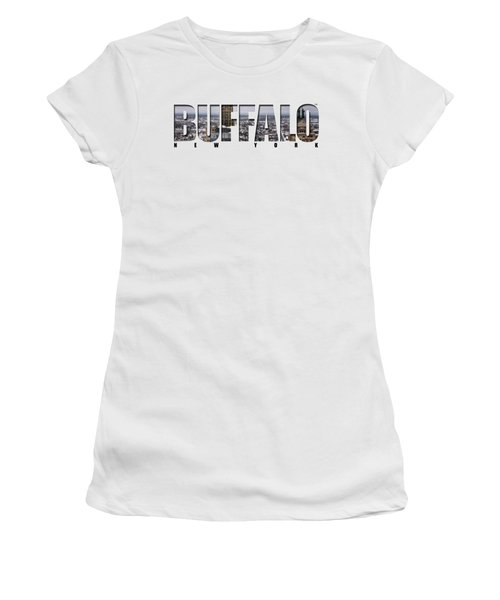 Buffalo Ny Snowy Cityscape Women's T-Shirt (Junior Cut) by Michael Frank Jr
