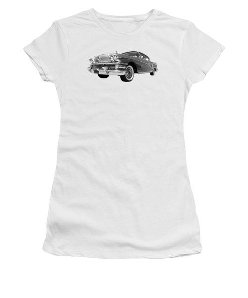 Buick Roadmaster 75 In Black And White Women's T-Shirt