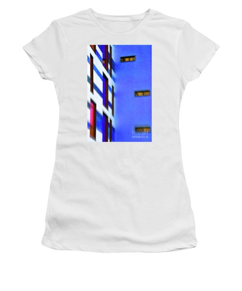 Women's T-Shirt (Athletic Fit) featuring the digital art Building Block - Blue by Wendy Wilton