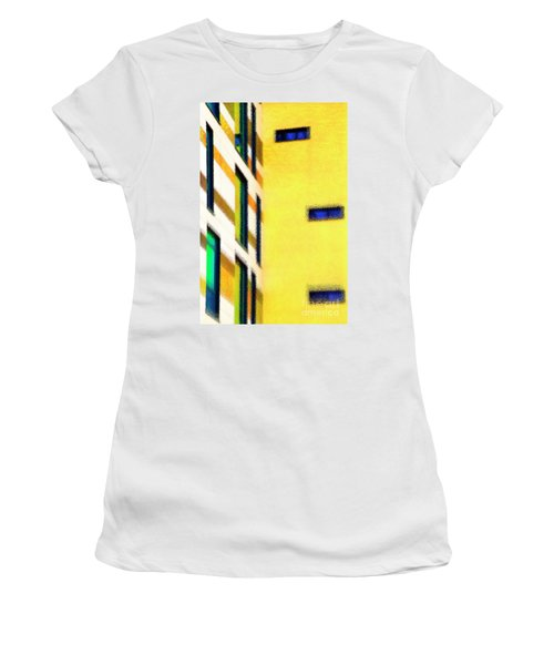 Women's T-Shirt (Athletic Fit) featuring the digital art Building Block - Yellow by Wendy Wilton