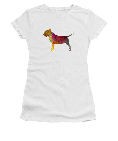 Bull Terrier In Watercolor Women's T-Shirt (Junior Cut) by Pablo Romero