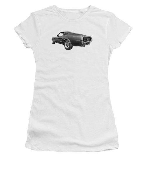 Bullitt Mustang 1968 In Black And White Women's T-Shirt