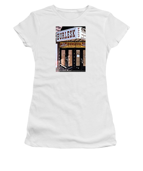 Women's T-Shirt (Junior Cut) featuring the photograph Burlesk At The Folly by Jim Mathis