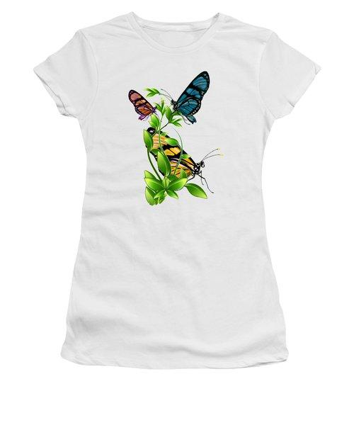 Butterflies On Leaves Women's T-Shirt (Junior Cut) by Ericamaxine Price