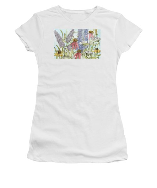Women's T-Shirt (Junior Cut) featuring the painting Butterfly Bush In Garden by Laurie Rohner