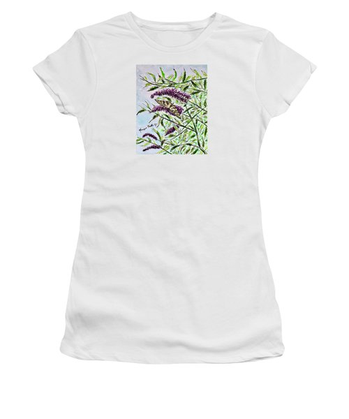 Women's T-Shirt featuring the painting Butterfly Bush by Monique Faella
